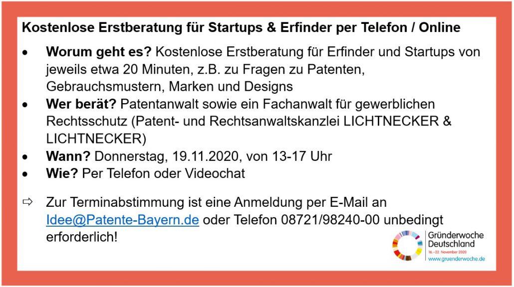 Angebot Gründerwoche GZDN Partner Lichtnecker Anwalt